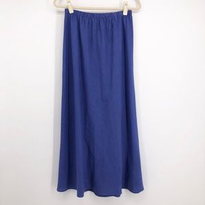 J PETERMAN Blue Linen Bias Cut Maxi Skirt